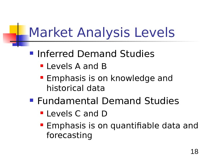 18 Market Analysis Levels Inferred Demand Studies Levels A and B Emphasis is on knowledge and