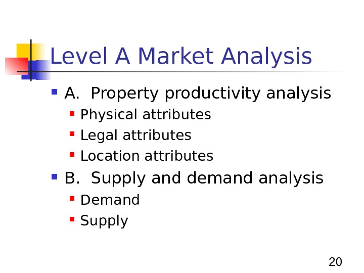 20 Level A Market Analysis A.  Property productivity analysis Physical attributes Legal attributes Location attributes