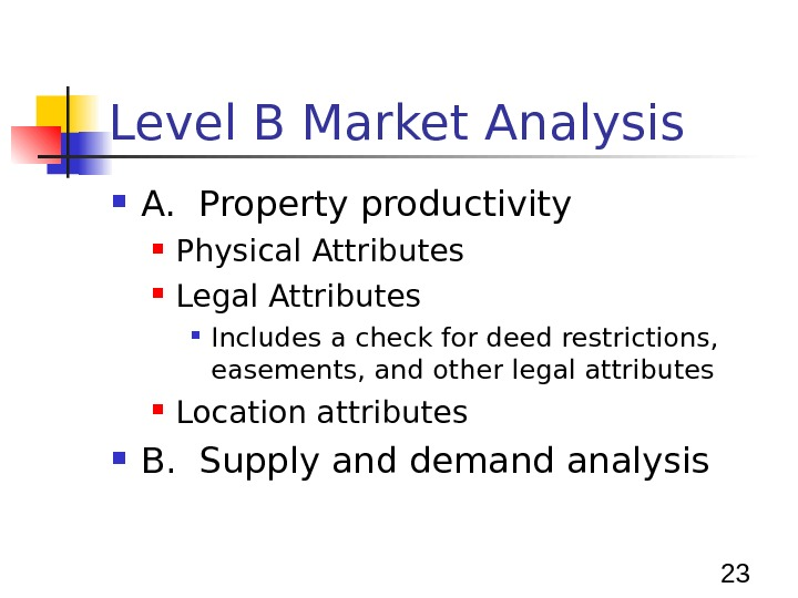 23 Level B Market Analysis A.  Property productivity Physical Attributes Legal Attributes Includes a check