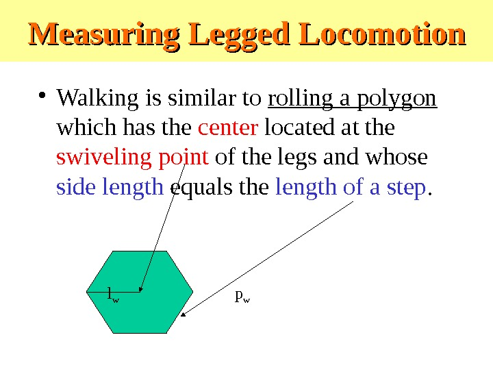 Measuring Legged Locomotion • Walking is similar to rolling a polygon  which has the center