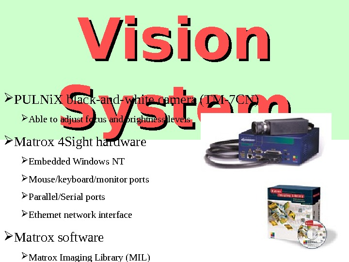 Vision System PULNi. X black-and-white camera  (TM-7 CN) Able to adjust focus and brightness levels
