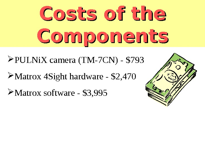 Costs of the Components PULNi. X camera (TM-7 CN) - $793 Matrox 4 Sight hardware -