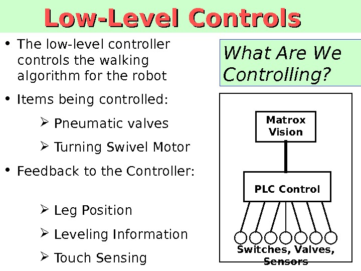 What Are We Controlling? • The low-level controller controls the walking algorithm for the robot •