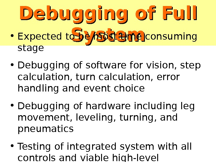 Debugging of Full System • Expected to be most time consuming stage • Debugging of software