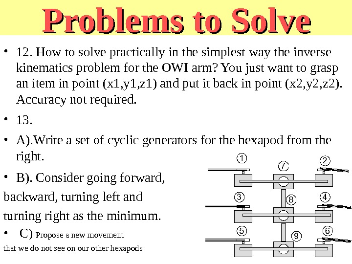 Problems to Solve • 12. How to solve practically in the simplest way the inverse kinematics
