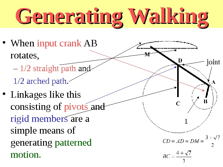 Generating Walking • When input crank AB rotates, – 1/2 straight path and 1/2 arched path.