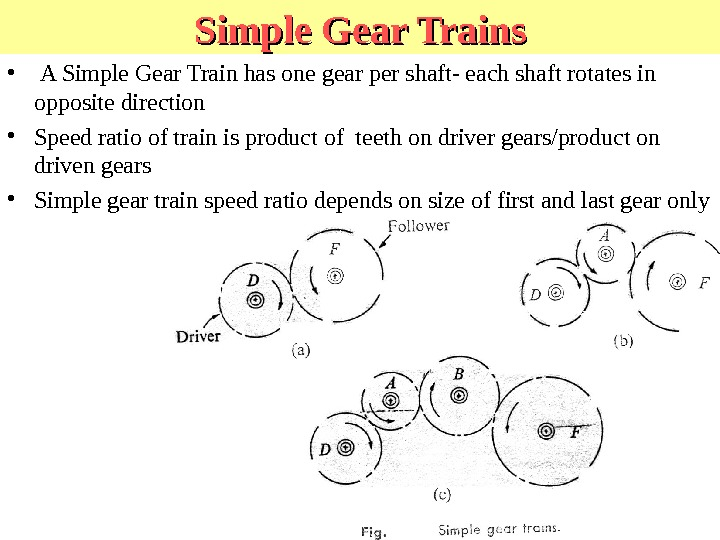 Simple Gear Trains •  A Simple Gear Train has one gear per shaft- each shaft