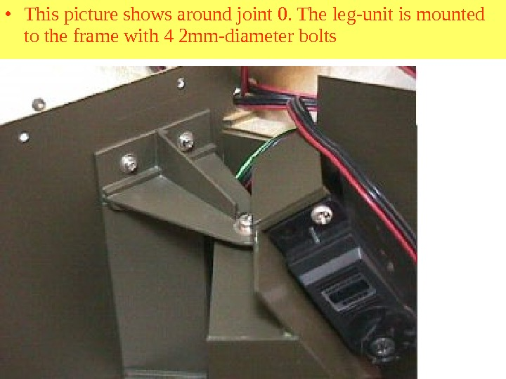 • This picture shows around joint 0. The leg-unit is mounted to the frame with