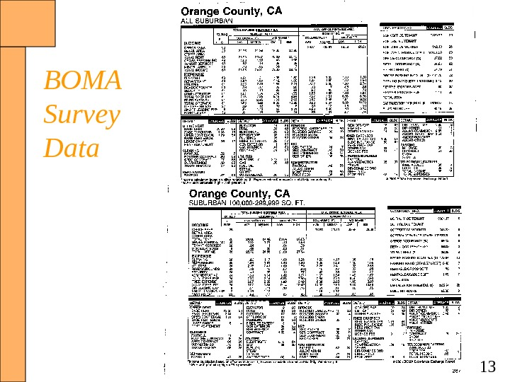 13 BOMA Survey Data