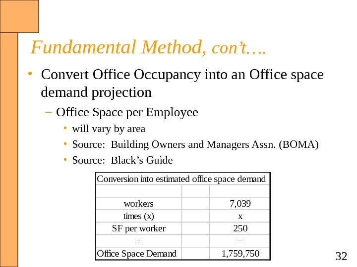 32 Fundamental Method,  con't….  • Convert Office Occupancy into an Office space demand projection
