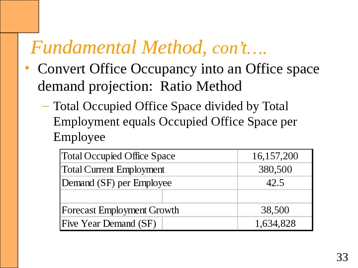 33 Fundamental Method,  con't….  • Convert Office Occupancy into an Office space demand projection: