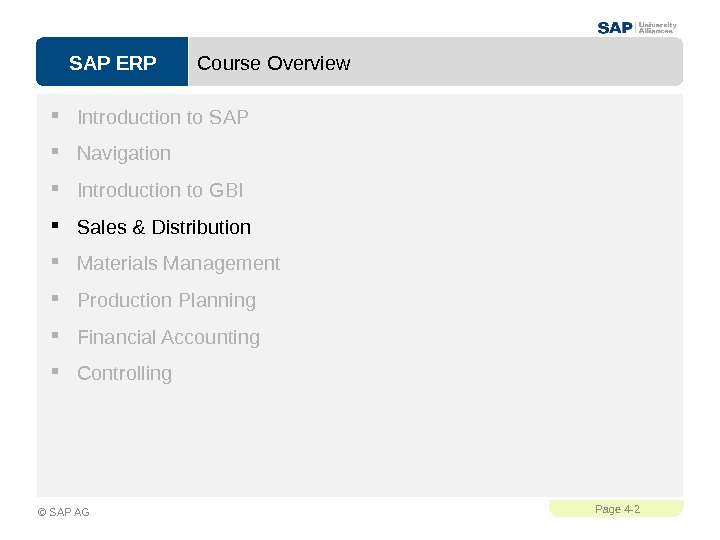SAP ERPPage 4 - 2 © SAP AG Course Overview Introduction to SAP Navigation Introduction to