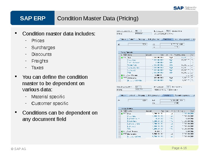 SAP ERPPage 4 - 16 © SAP AG Condition Master Data (Pricing) Condition master data includes: