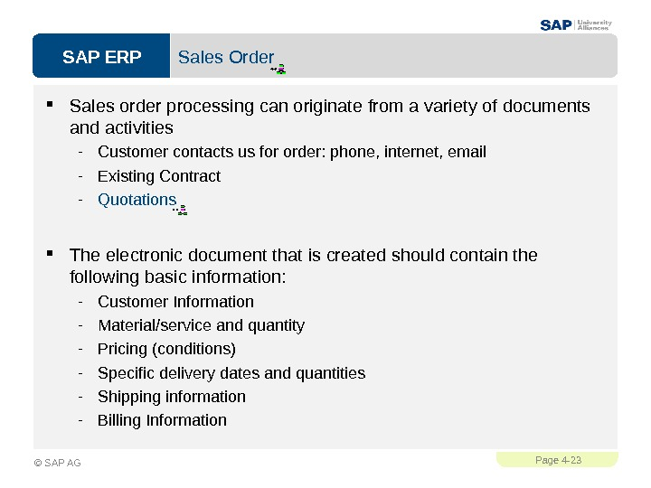 SAP ERPPage 4 - 23 © SAP AG Sales Order Sales order processing can originate from