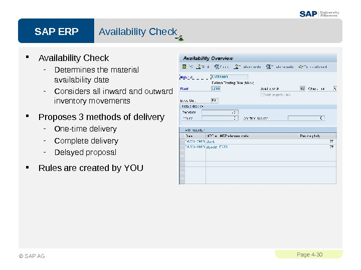 SAP ERPPage 4 - 30 © SAP AG Availability Check - Determines the material availability date