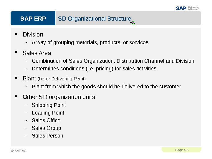 SAP ERPPage 4 - 6 © SAP AG SD Organizational Structure Division - A way of