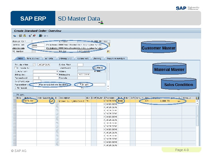 SAP ERPPage 4 - 9 © SAP AG SD Master Data Customer Master Material Master Sales