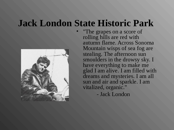 Jack London State Historic Park  • The grapes on a score of rolling hills are