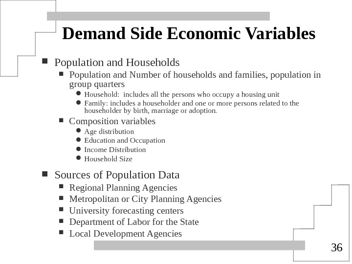 36 Demand Side Economic Variables Population and Households Population and Number of households and families, population