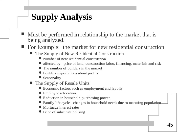 45 Supply Analysis Must be performed in relationship to the market that is being analyzed.