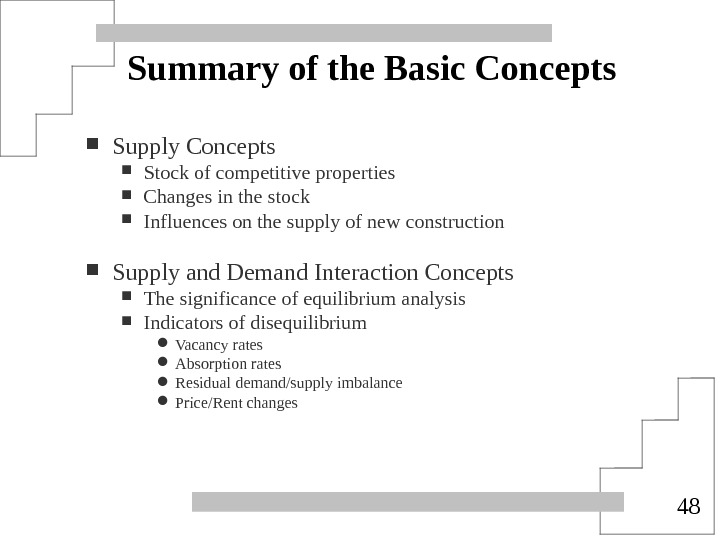 48 Summary of the Basic Concepts Supply Concepts Stock of competitive properties Changes in the stock