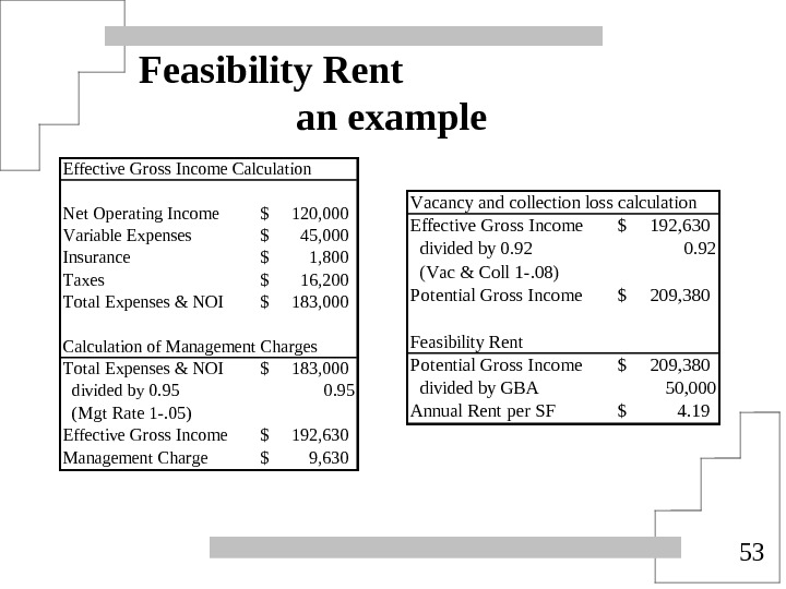 53 Feasibility Rent an example Effective Gross Income Calculation Net Operating Income 120, 000$  Variable