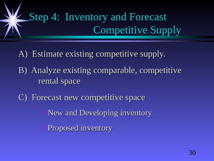30 Step 4:  Inventory and Forecast  Competitive Supply A) Estimate existing competitive supply. B)