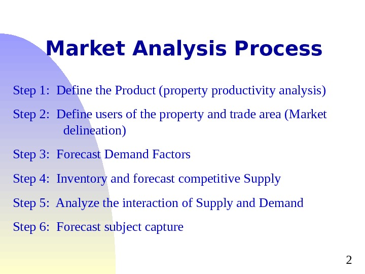 2 Market Analysis Process Step 1:  Define the Product (property productivity analysis) Step 2: