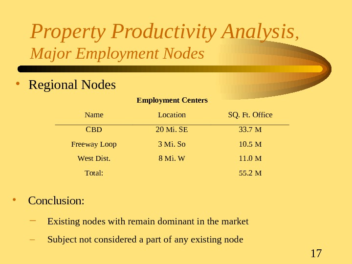 17 Property Productivity Analysis ,  Major Employment Nodes • Regional Nodes. Employment Centers Name. Location.