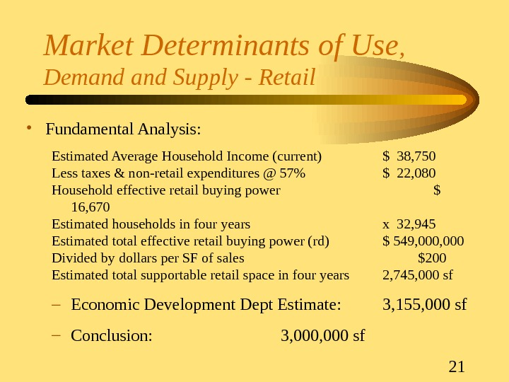 21 Market Determinants of Use ,  Demand Supply - Retail • Fundamental Analysis: Estimated Average