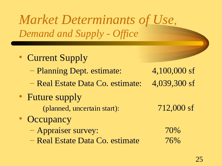 25 Market Determinants of Use ,  Demand Supply - Office • Current Supply – Planning