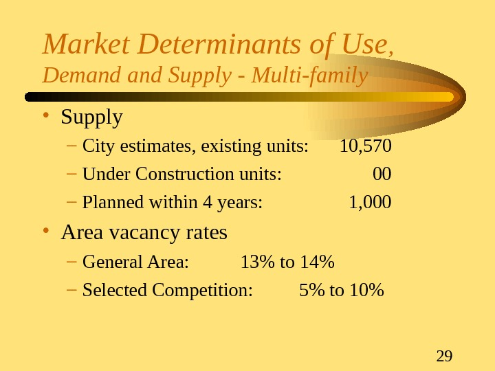 29 Market Determinants of Use ,  Demand Supply - Multi-family • Supply – City estimates,