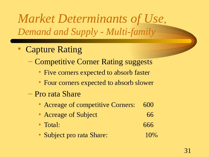 31 Market Determinants of Use ,  Demand Supply - Multi-family • Capture Rating – Competitive