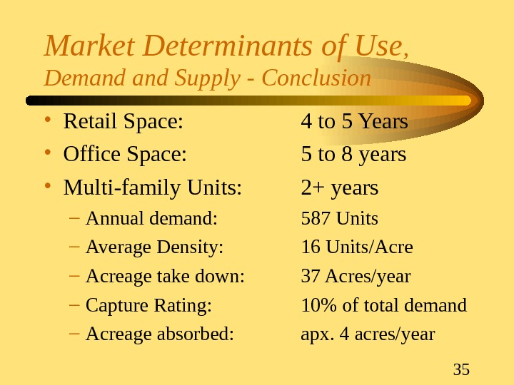 35 Market Determinants of Use ,  Demand Supply - Conclusion • Retail Space: 4 to