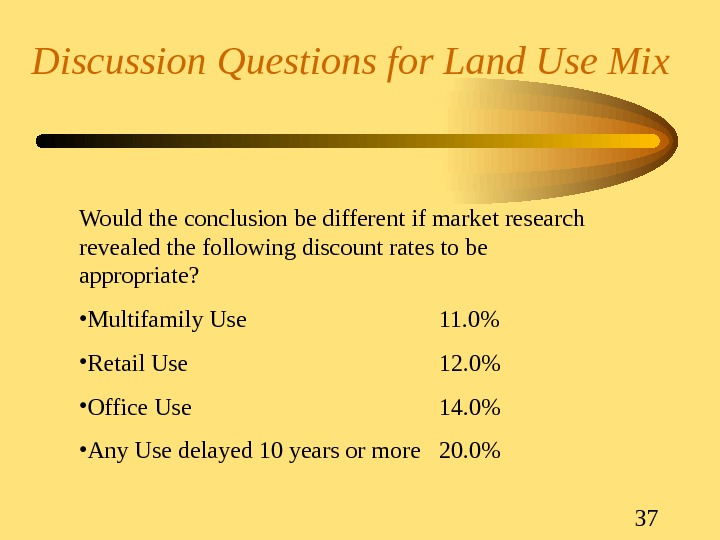 37 Discussion Questions for Land Use Mix Would the conclusion be different if market research revealed
