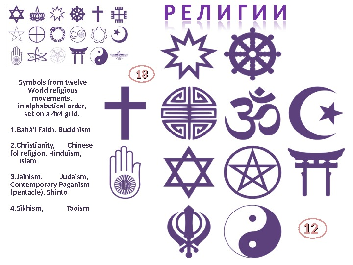 Symbols from twelve World religious movements,  in alphabetical order,  set on a 4 x