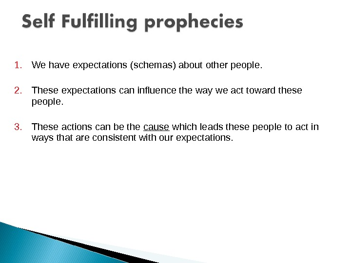 1. We have expectations (schemas) about other people. 2. These expectations can influence the way we