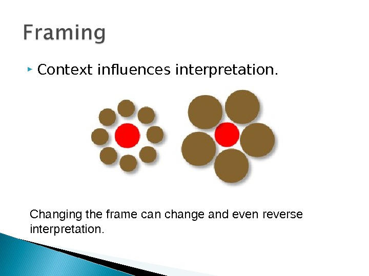 Context influences interpretation. Changing the frame can change and even reverse interpretation.