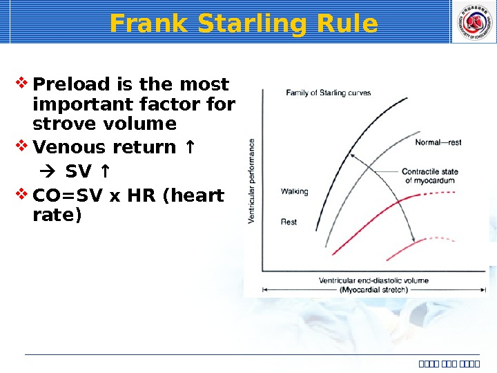 Frank Starling Rule  Preload is the most important factor for strove volume Venous return ↑