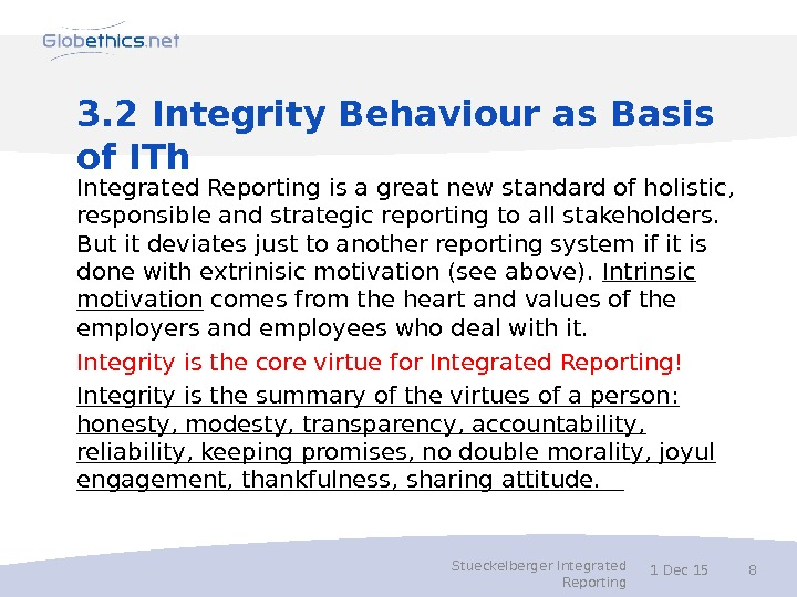 3. 2 Integrity Behaviour as Basis of ITh Integrated Reporting is a great new standard of