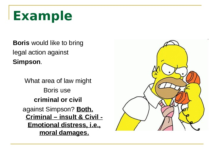 Example Boris would like to bring legal action against Simpson. What area of law