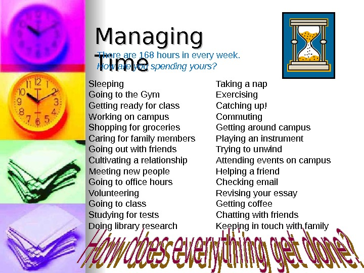 Managing Time  There are 168 hours in every week. How are you spending yours? Sleeping