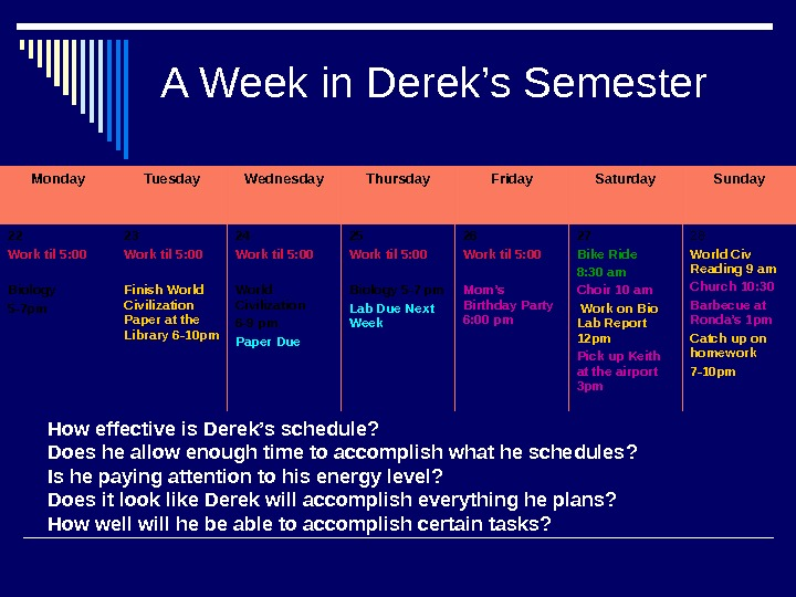 A Week in Derek's Semester Monday Tuesday Wednesday Thursday Friday Saturday Sunday 22 Work til 5: