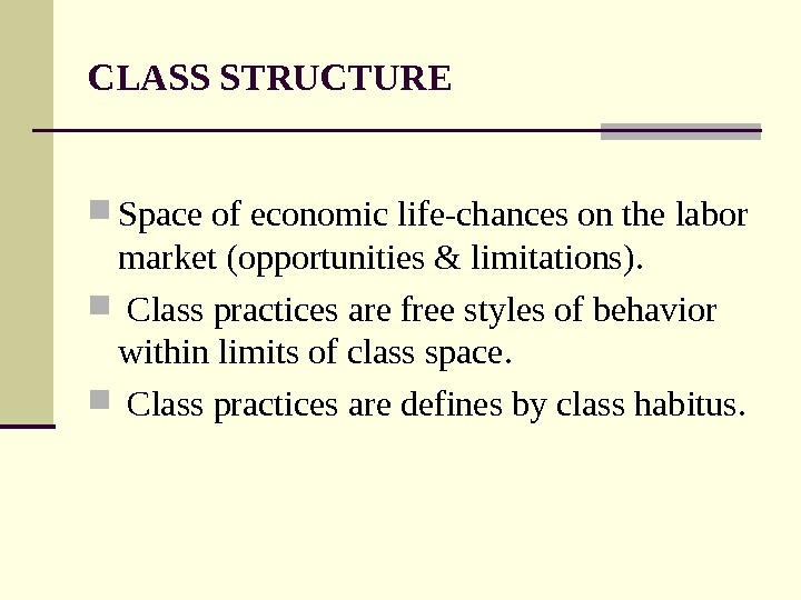 CLASS STRUCTURE Space of economic life-chances on the labor market (opportunities & limitations). Class practices are