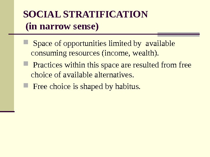SOCIAL STRATIFICATION (in narrow sense)  Space of opportunities limited by available consuming resources (income, wealth).