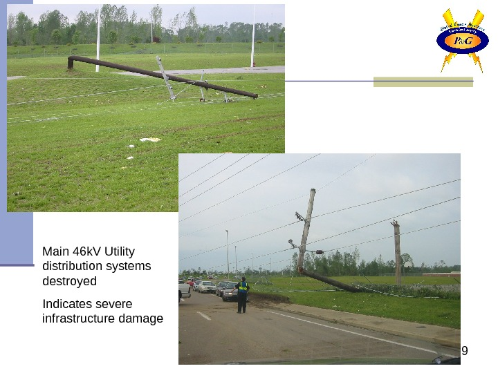 9 Main 46 k. V Utility distribution systems destroyed Indicates severe infrastructure damage