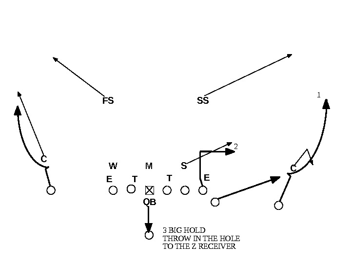 1 2 3 BIG HOLD THROW IN THE HOLE TO THE Z RECEIVER ETT WMS E