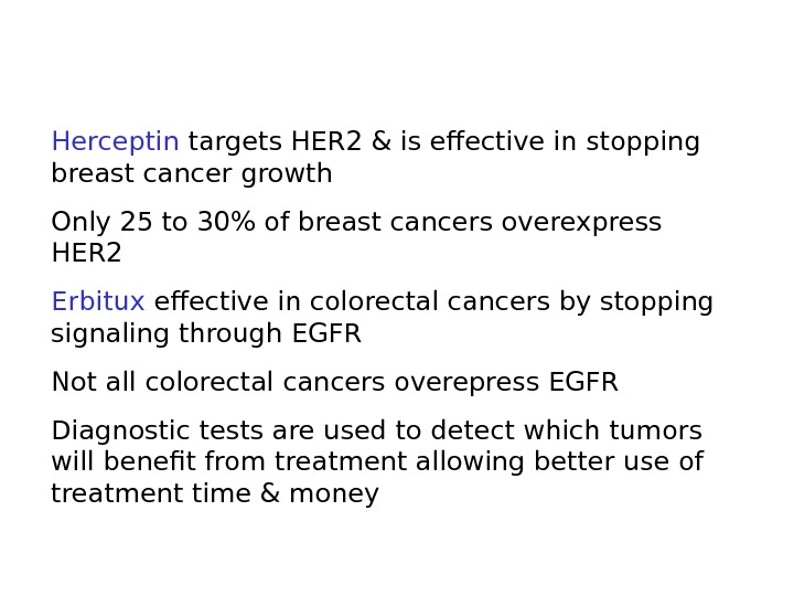 Herceptin targets HER 2 & is effective in stopping breast cancer growth Only 25