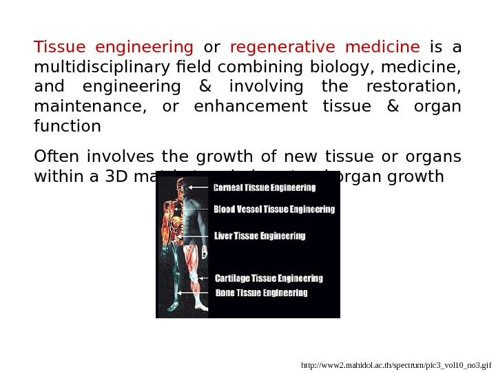 Tissue engineering  or regenerative medicine  is a multidisciplinary field combining biology, medicine,