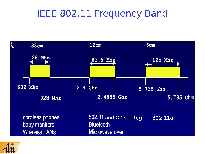 IEEE 802. 11 Frequency Band 802. 11 b/g 802. 11 a
